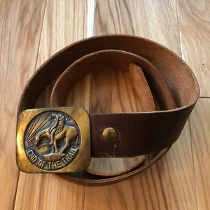 Vintage End of the Trail Leather Belt and Buckle
